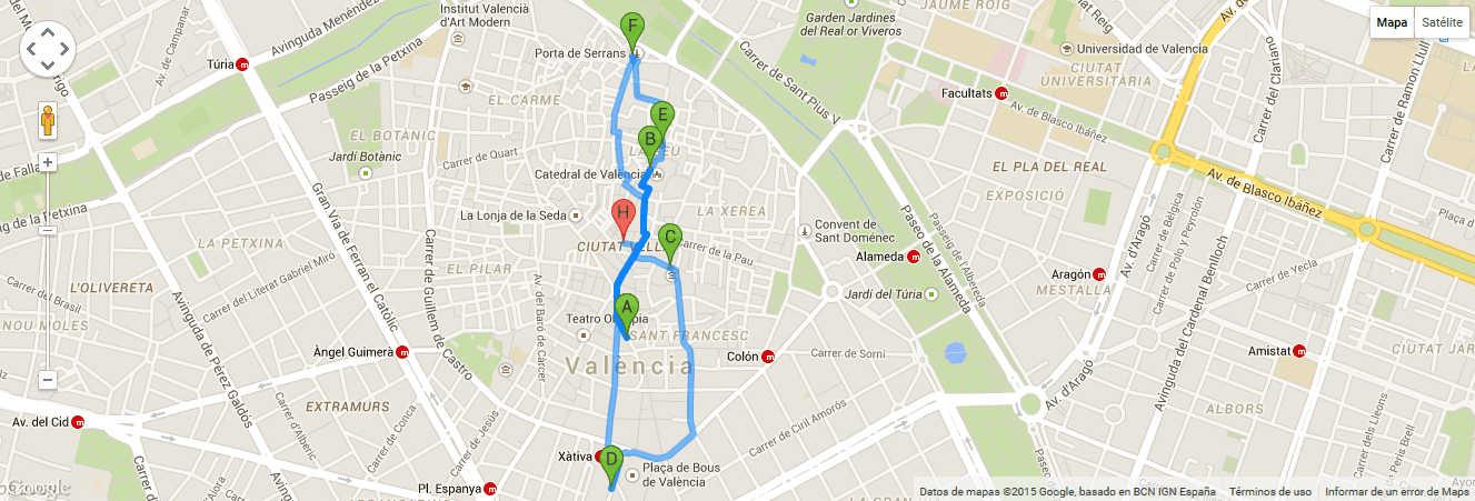 Ruta por el casco historico de Valencia